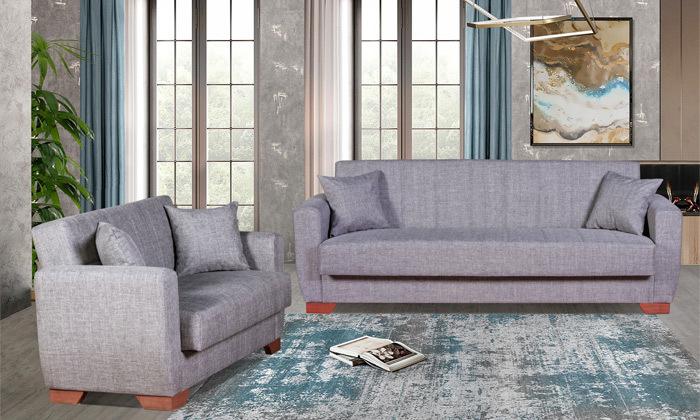 4 ספה תלת מושבית וספה זוגית, כולל 4 כריות נוי