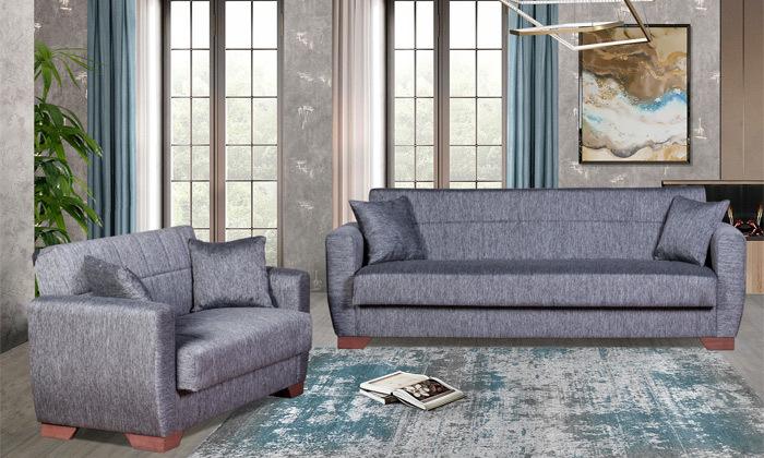 2 ספה תלת מושבית וספה זוגית, כולל 4 כריות נוי