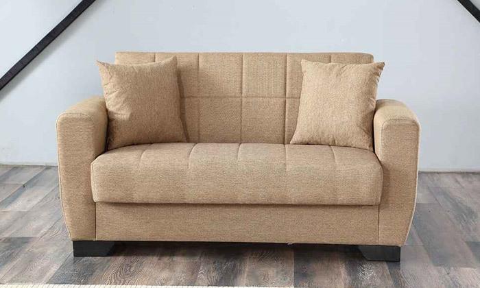 5 ספה תלת מושבית וספה זוגית, כולל 4 כריות נוי