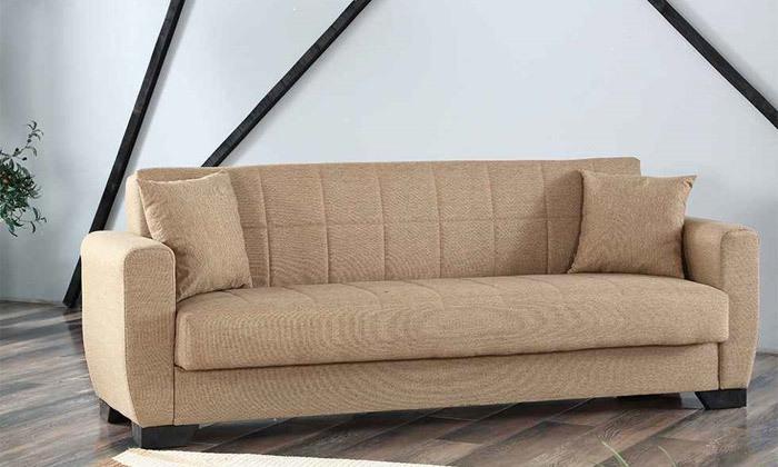 6 ספה תלת מושבית וספה זוגית, כולל 4 כריות נוי
