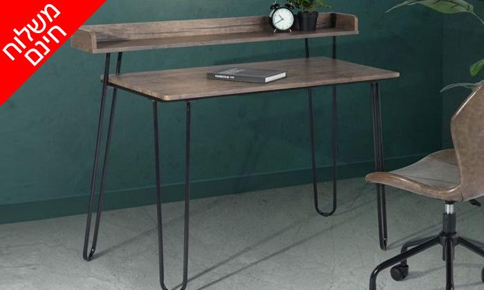 2 שולחן כתיבה מעץ עם רגלי מתכת בשני צבעים לבחירה - משלוח חינם