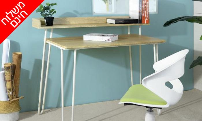 8 שולחן כתיבה מעץ עם רגלי מתכת בשני צבעים לבחירה - משלוח חינם
