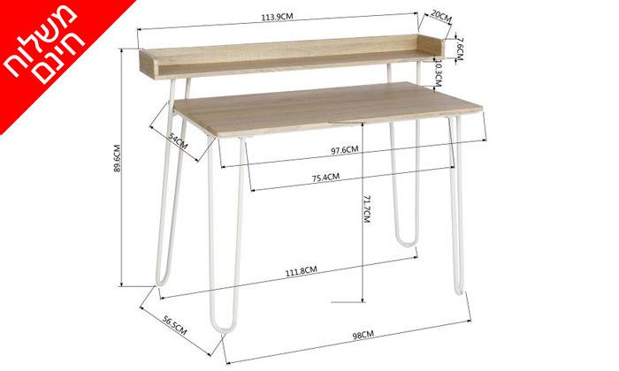 5 שולחן כתיבה מעץ עם רגלי מתכת בשני צבעים לבחירה - משלוח חינם