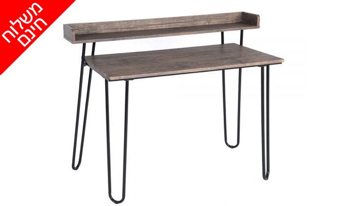 3 שולחן כתיבה מעץ עם רגלי מתכת בשני צבעים לבחירה - משלוח חינם