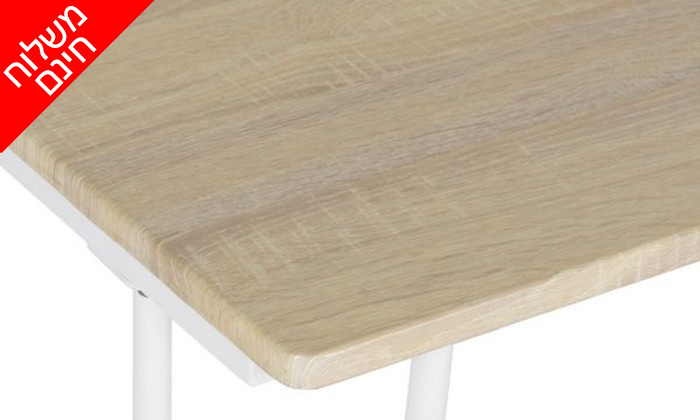7 שולחן כתיבה מעץ עם רגלי מתכת בשני צבעים לבחירה - משלוח חינם