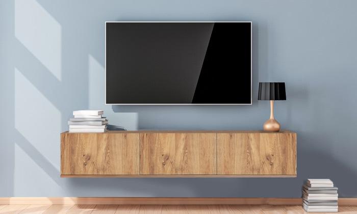 4 מזנון טלוויזיה צף 3 דלתותבגוון עץ או לבן לבחירה Tudo Design