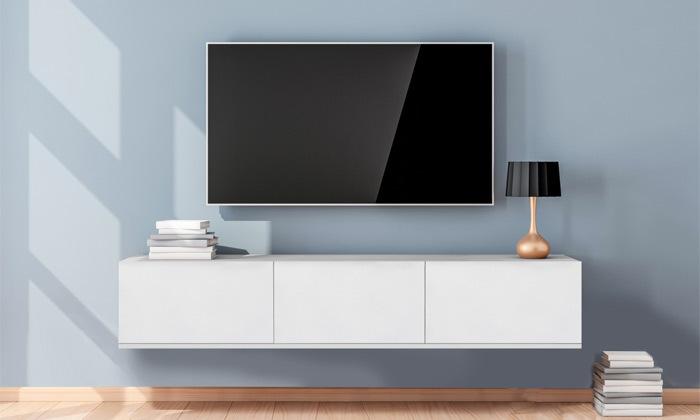 2 מזנון טלוויזיה צף 3 דלתותבגוון עץ או לבן לבחירה Tudo Design