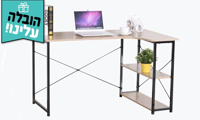 3 שולחן כתיבה פינתי עם מדפיםHomaxדגם לנטנה - משלוח חינם