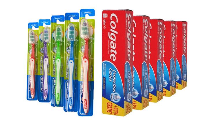 2 מארז 10 יח' משחת שיניים Colgate ו-10 מברשות Oral-B