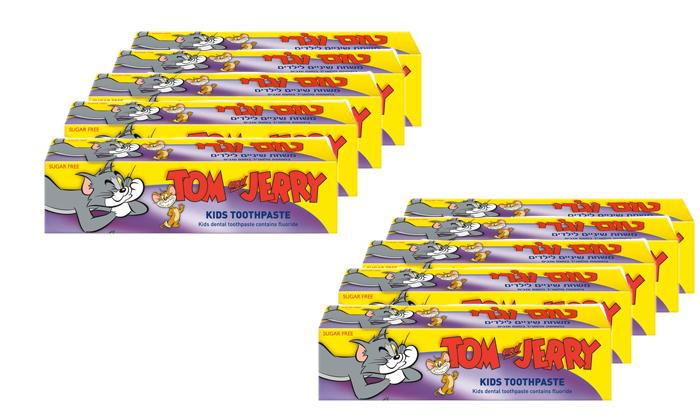 2 מארז 10 יחידות משחת שיניים לילדים טום וג'רי
