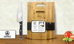 3 קרשי חיתוך מבמבוק וסכין שף