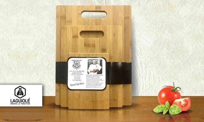 2 3 קרשי חיתוך מבמבוק GAM'HOTEL, ניתן להוסיף סכין שף או כותש שום