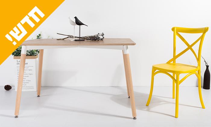 2 שולחן אוכל עם רגלי עץ ומשטח בצבע לבחירה