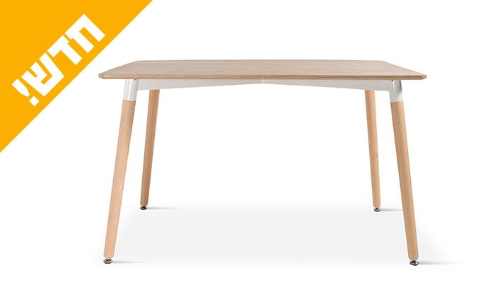 6 שולחן אוכל עם רגלי עץ ומשטח בצבע לבחירה