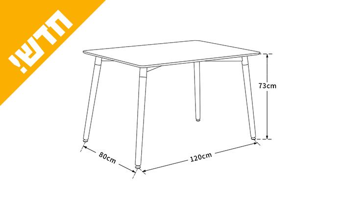 4 שולחן אוכל עם רגלי עץ ומשטח בצבע לבחירה