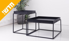 שולחן סלון מרובע ממתכת