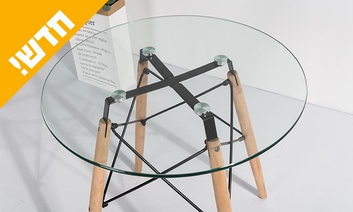 3 שולחן אוכל עגול עם משטח זכוכית ורגלי עץ מלא