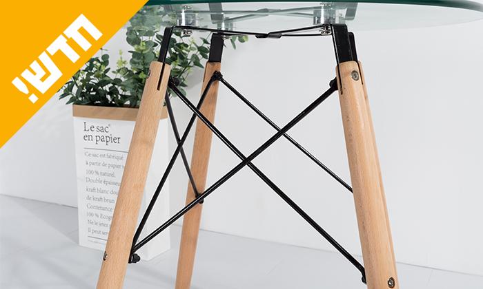 4 שולחן אוכל עגול עם משטח זכוכית ורגלי עץ מלא