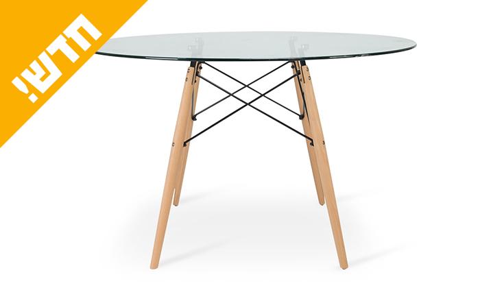 5 שולחן אוכל עגול עם משטח זכוכית ורגלי עץ מלא