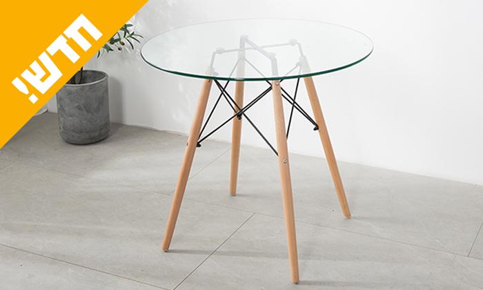 2 שולחן אוכל עגול עם משטח זכוכית ורגלי עץ מלא