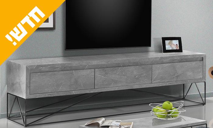 2 מזנון טלוויזיה במראה שיש אפור LEONARDO
