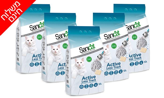 """2 5 שקי חול חתולים מתגבש (סה""""כ 50 ליטר) Sanicat - משלוח חינם"""