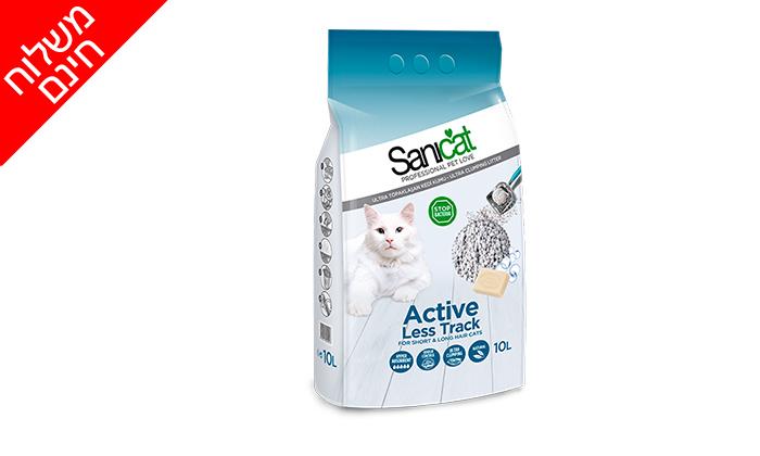 """3 5 שקי חול חתולים מתגבש (סה""""כ 50 ליטר) Sanicat - משלוח חינם"""