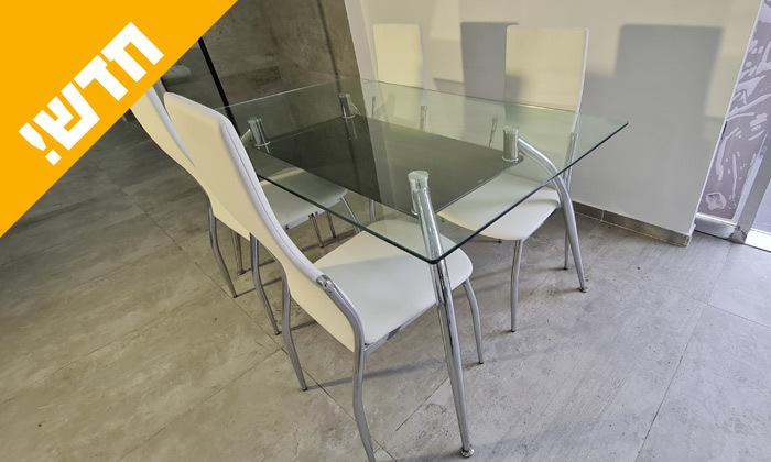 2 פינת אוכל מלבנית מזכוכית מחוסמת עם 4 כיסאות בריפוד דמוי עור