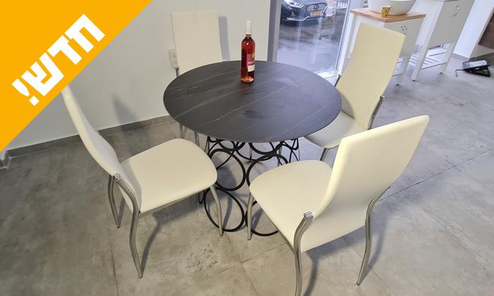2 פינת אוכל בצבע שחור או לבן לבחירה, עם 4 כיסאות בריפוד דמוי עור