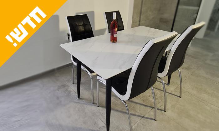 2 פינת אוכל במראה שיש עם 4 כיסאות בריפוד דמוי עור שחור