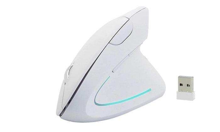 4 עכבר מחשב אנכי אלחוטי בצבע שחור או לבן לבחירה