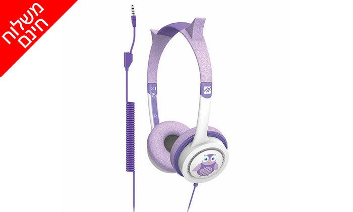4 אוזניות קשת לילדיםiFrogz Little Rockerz דגם ינשוף - משלוח חינם
