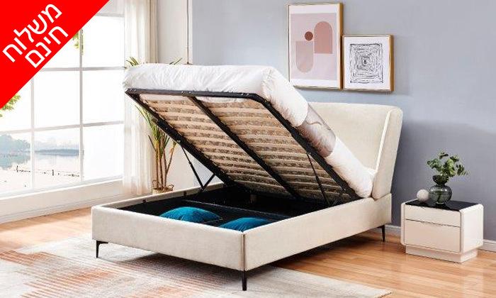 6 מיטה זוגית מרופדת עם ארגז מצעים דגם לדיווה - משלוח חינם