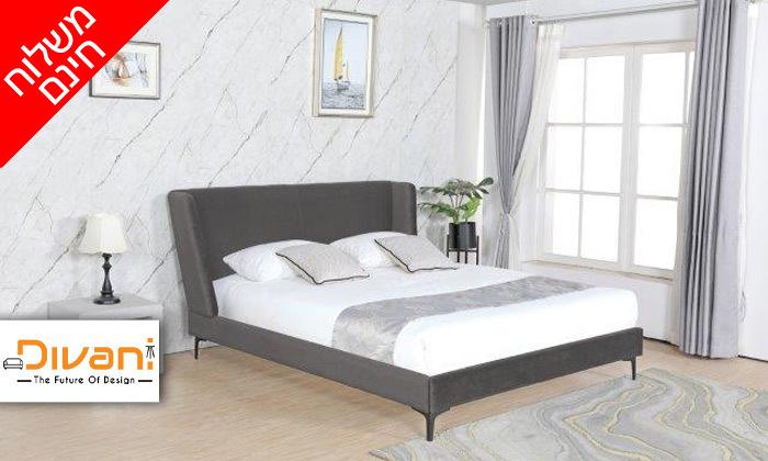 2 מיטה זוגית מרופדת עם ארגז מצעים דגם לדיווה - משלוח חינם