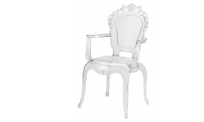 2 כיסא אוכל שקוף עם משענות ידיים, דגם לואי