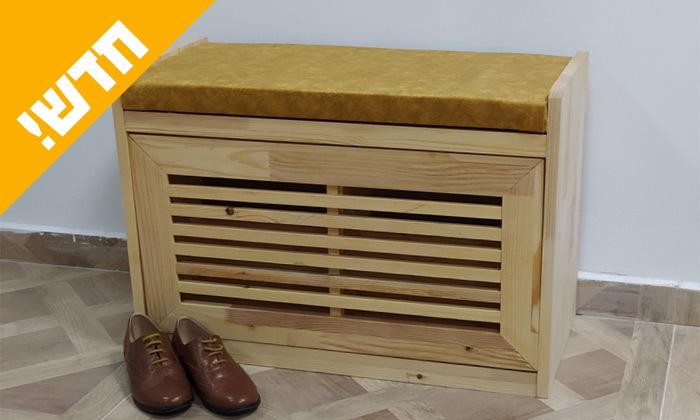 2 שידת התארגנות מעץ מלא עם תא לנעליים