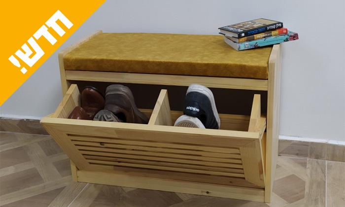 4 שידת התארגנות מעץ מלא עם תא לנעליים