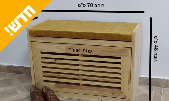 3 שידת התארגנות מעץ מלא עם תא לנעליים