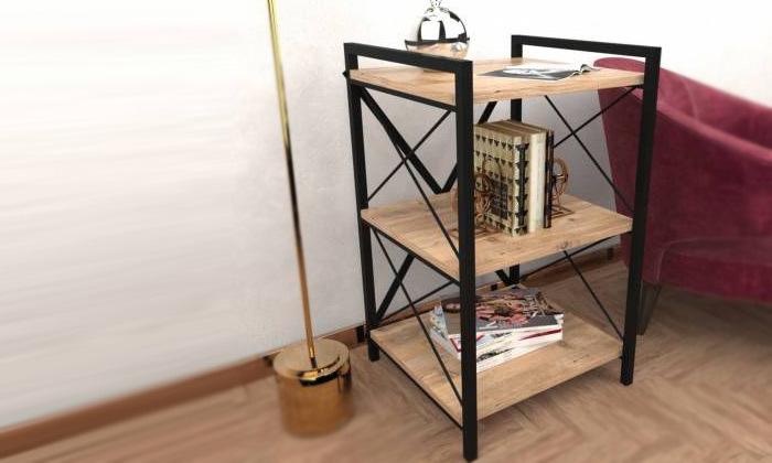 2 שידת צדעם מדפי עץ בשילוב ברזל Tudo Design