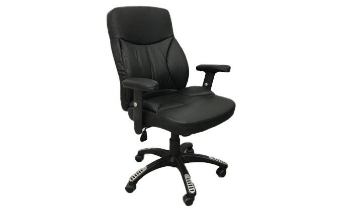 2 כיסא מנהלים בריפוד דמוי עור עם בוכנה פנאומטית