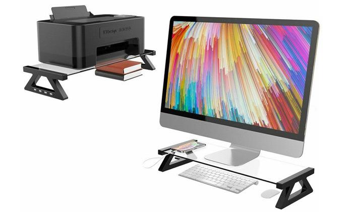 6 מעמד למסך מחשב עם חיבורי USB