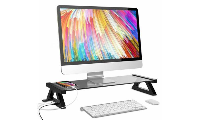 2 מעמד למסך מחשב עם חיבורי USB