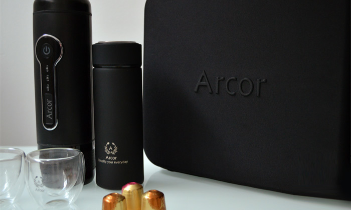 2 מכונת קפה ניידת ARCOR עם ערכת קפה ו-10 קפסולות