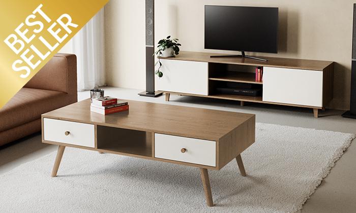 2 מזנון טלוויזיה ניס ושולחן סלון נאפולי