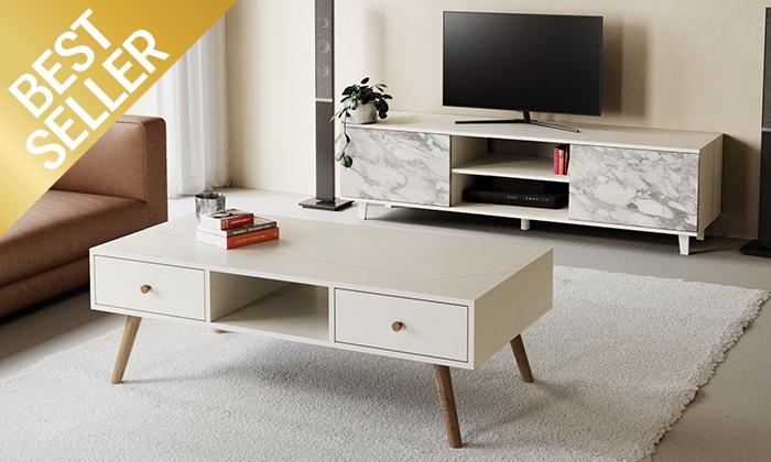 3 מזנון טלוויזיה ניס ושולחן סלון נאפולי