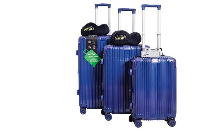 2 סט 3 מזוודות קשיחות SUZUKI Energy עם 2 כריות נסיעה ומשקל