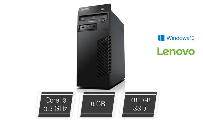 2 מחשב נייח מחודש לנובו Lenovo דגם M72e עם זיכרון 8GB ומעבד i3