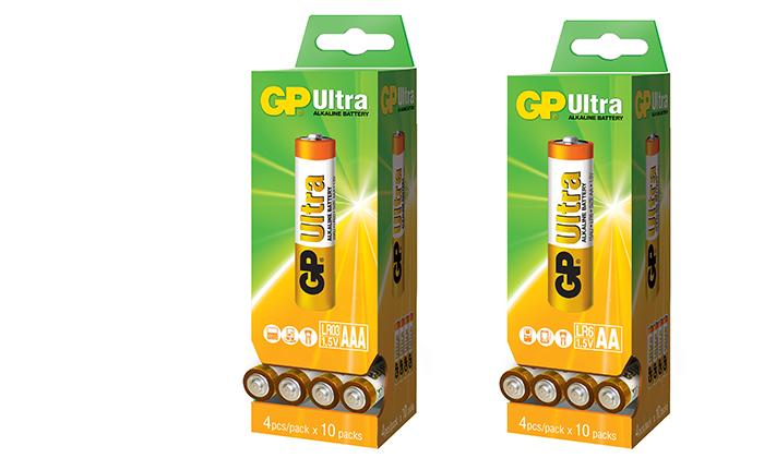 2 מארז 80 סוללות GP מקוריות: 40 סוללות AA ו-40 סוללות AAA