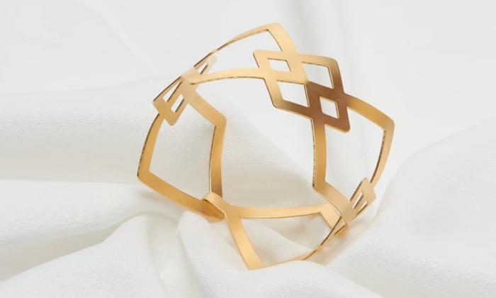 2 צמיד גיאומטרי רחב בצורת מעויינים עשוי ציפוי זהב 24K איכותי