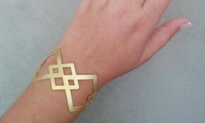 3 צמיד גיאומטרי רחב בצורת מעויינים עשוי ציפוי זהב 24K איכותי